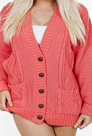 Long Sleeve Full Length Cable Knit Knitted Boyfriend Cardigan - Baby Blue - Size 8 10 12 14 S M L XL