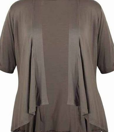 New Ladies Short Sleeve Plus Size Open Waterfall Cardigan Womens Plain Stretch Fit Top Purple Size 18