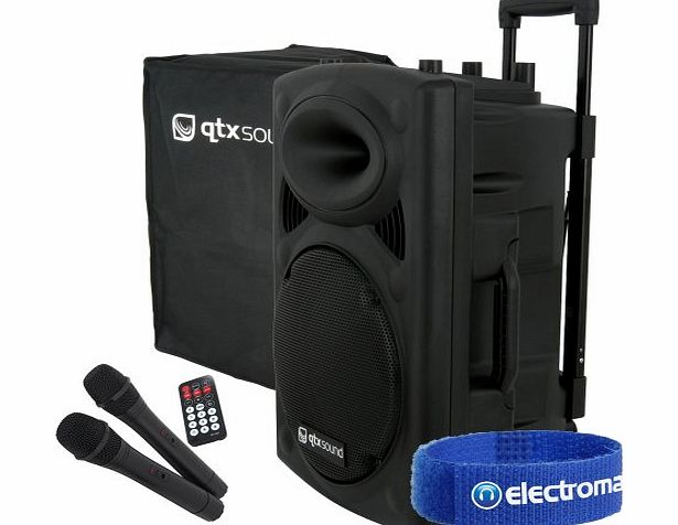 QTX Sound 15`` PA Karaoke Speaker System   2x Microphones   Mobile DJ Cover 500W