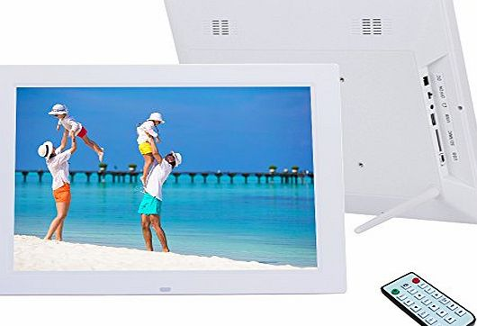 Quarice 14 Inch HD LED Digital Photo Frame 1024*768 Media Frame Supporting Alarm MP3 MP4 Movie Player USB Remote Control (White)