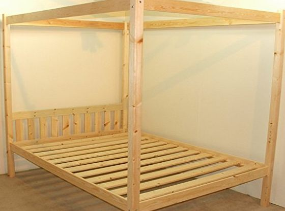 Solid Pine Double Bed Frame Only 1 Drawer