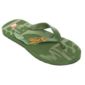Mens Quiksilver Icon Flip Flops. Green
