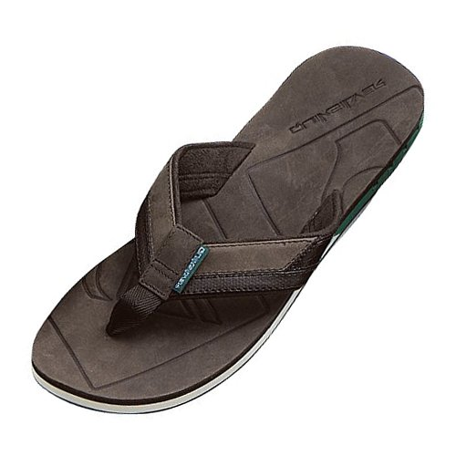 Mens Quiksilver Hiatus Leather Flip Flops Brown