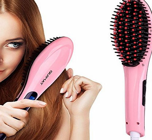 Quimat Hair Straightener Straightening Brush Digital Anion Hair Care Anti Scald Anti Static Hair Straightening Irons Electric Heating Ceramic LED Display Detangling Comb Instant Magic Silky Straight H