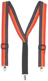 Multi-coloured striped braces to hold up your clown trousers. - CLICK FOR MORE INFORMATION