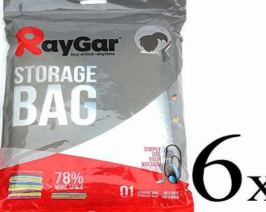 RayGar® 6 VACUUM COMPRESSED STORAGE SAVING SPACE BAGS 100 X 80 CM Clothing, Duvets, Bedding, Pillows, Curtai