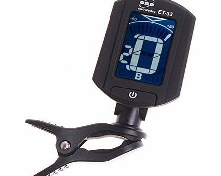 RayGar ENO DIGITAL CLIP ON CHROMATIC ACOUSTIC ELECTRIC BASS GUITAR TUNER VIOLIN UKULELE - NEW (ET-33 Black)