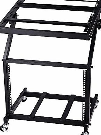 ReaseJoy 19`` 9U DJ Rack Mount Studio Mixer Stand Rolling Stage Cart Adjustable Music Equipment Disco Party Show