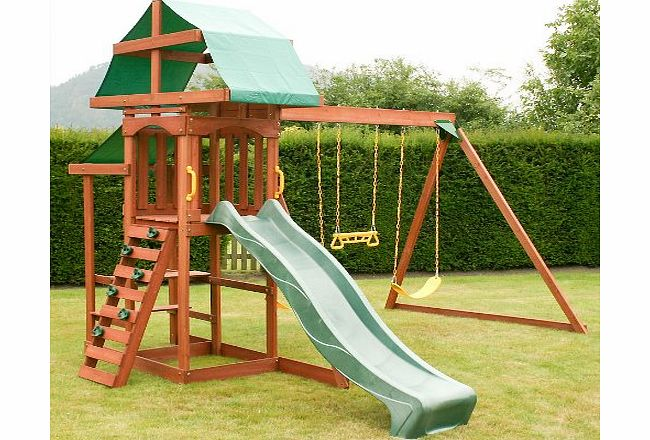 Rebo Rocky Climbing Frame Playcentre with Triple Swing, Slide, Rockwall and Picnic Table product image