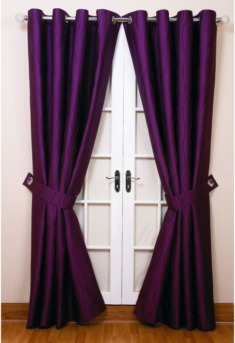 Dark Purple Curtains Lined eyelet curtains