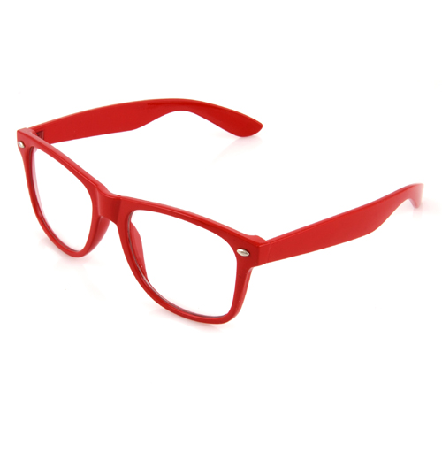 Red Clear Geek Glasses