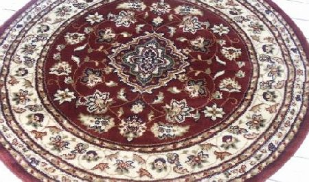 Red Traditional, Persian style rug Persian style circle rug in red. 133cm. Smooth feel rug product image