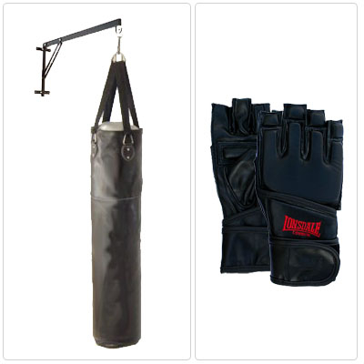 5ft PU Punch Bag (Strike Bag) + Wall Bracket + Large Fingerless Bag Mitts - CLICK FOR MORE INFORMATION