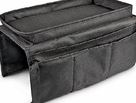 Relaxdays 6-Pocket Sofa Chair Couch Armrest Organizer Tray, Black