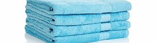 Four aqua Egyptian cotton bath sheets