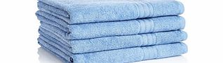 Four blue Egyptian cotton bath sheets