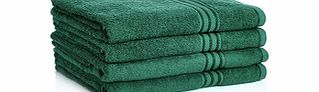 Four dark green Egyptian cotton towels