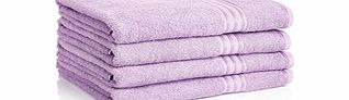 Four lilac pure cotton bath sheets
