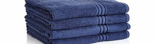 Four navy Egyptian cotton bath sheets