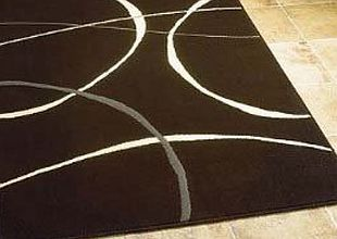 Retro Contemporary Cheap Modern Retro Black Cream Rugs 3 SIZES AVAILABLE, 120x160cm (4ft x 5ft 6) product image