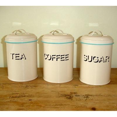 retro cream tea coffee sugar canisters kitchen. Black Bedroom Furniture Sets. Home Design Ideas