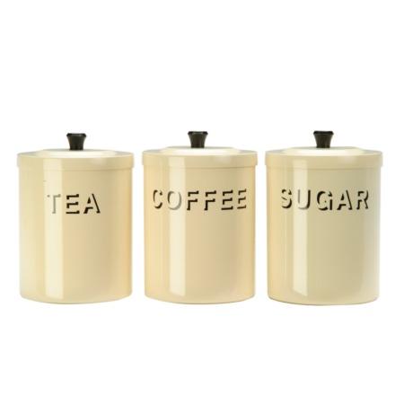retro cream tea coffee and sugar canisters kitchen. Black Bedroom Furniture Sets. Home Design Ideas