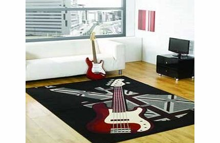 Retro funky boys rock guitar rug Small Small Retro Funky rug. Boys rock 60x110cm Music Bedrooms. Black, Brown, Red, Ivory product image