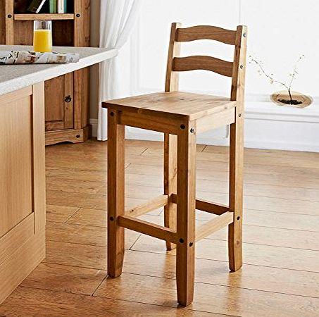 Wooden Bar Stool Bar chair Stool Solid pine in a rustic finish