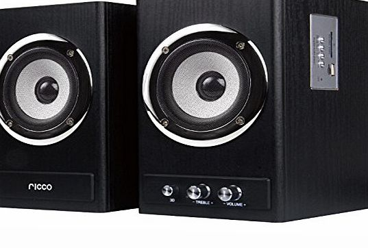 Ricco 24 W 2 Channel RMS Wooden Chrome Speaker Home Hi-Fi System with USB Flash Drive Playback T2018 - Black