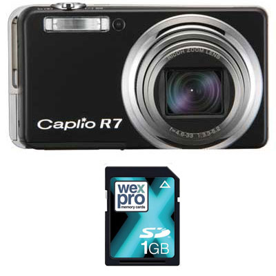 Ricoh Caplio R7 Black Compact Camera and 1GB SD