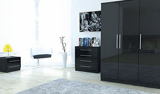 Right Deals UK Edge Black High Gloss 3 Piece Large Bedroom Set | 3 Door Wardrobe | Chest of 4 Drawer | 2 Drawer Bedside Cabinet | product image