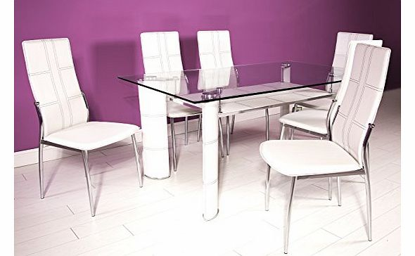 Right deals uk montana white chrome and clear glass for Best deals on dining tables and chairs