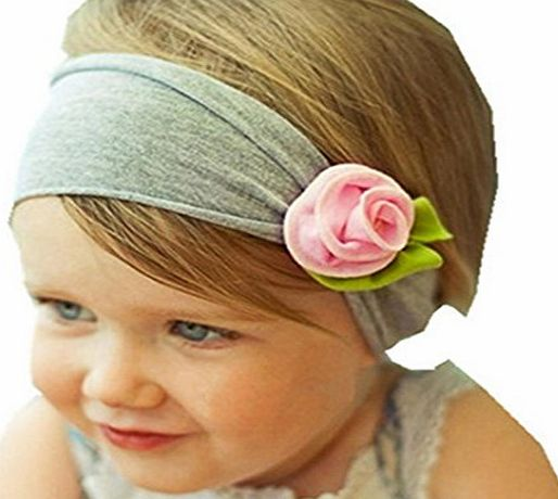 Rosennie Baby Infant Toddler Headband Bow Flower Hair Band Headwear (Pink)