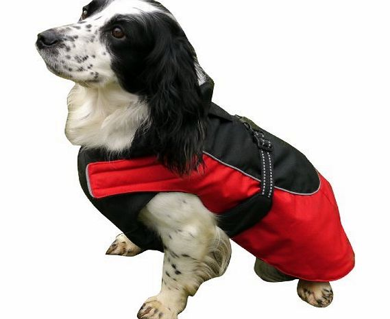 ROSEWOOD  Options Dog Coat Water Resistant/Reflective, 14-16-inch, Red