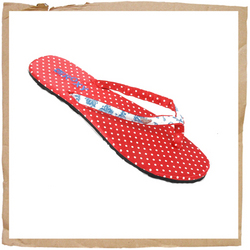 Roxy Cristal Flip Flop Pokka Dot Pattern Footbed Rubber Sole Roxy Embroidery - CLICK FOR MORE INFORMATION