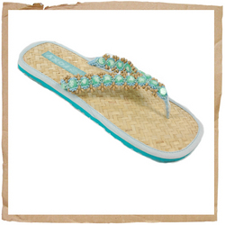Roxy Halong Flip Flop Beaded Strap Rubber Sole Roxy Branding - CLICK FOR MORE INFORMATION