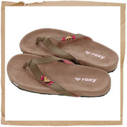 Roxy Hestia Flip Flop  Upper in Canvas with Wood Pearls  Wooded Heart Roxy Logo  EVA Sole and Footbe - CLICK FOR MORE INFORMATION