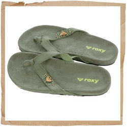 Roxy Hestia Flip Flop  Upper in Canvas with Wood Pearls  Wooded Heart Roxy Logo   EVA Sole and Footb - CLICK FOR MORE INFORMATION