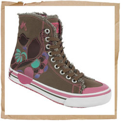 Roxy Midflower Boot  Upper in Canvas with Screen Printed Design  Lining in Canvas  Rubber Sole Const - CLICK FOR MORE INFORMATION