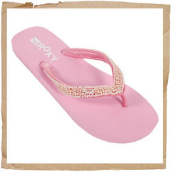 Roxy Perla Flip Flop  Synthetic Strap w/ Pearl Detail  Foam Footbed  Rubber Sole  Smooth Rubber Lini - CLICK FOR MORE INFORMATION