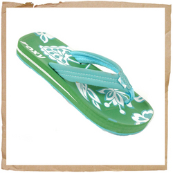 Roxy Sidewalk Flip Flop Rubber Sole Printed Roxy Branding On Footbed Light Weight Fabric Strap - CLICK FOR MORE INFORMATION