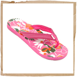 Roxy Sidewalk Flip Flop Fabric Strap w/ Roxy Detail Textured Foam Footbed w/ Print Rubber Sole - CLICK FOR MORE INFORMATION