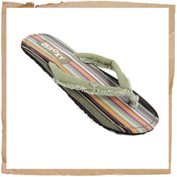 Roxy Tikkah Flip Flop Roxy Branding Material Strap Stripped Pattern Footbed Rubber Sole - CLICK FOR MORE INFORMATION