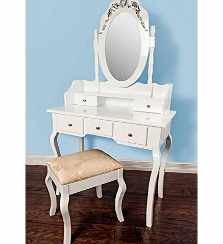 Luxembourg White Dressing Table with Stool amp; Mirror 155x80x40
