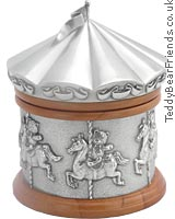 Carousel Horses Music Box has a stunning pewter relief of teddy bears riding on a merry go round and - CLICK FOR MORE INFORMATION