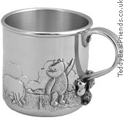 Where`s Eeyore`s Tail? asks Winnie the Pooh in this pewter baby cup from Royal Selangor. Based on th - CLICK FOR MORE INFORMATION