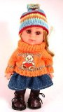 8 inch mini girl doll with woollen jumper and hat and denim skirt