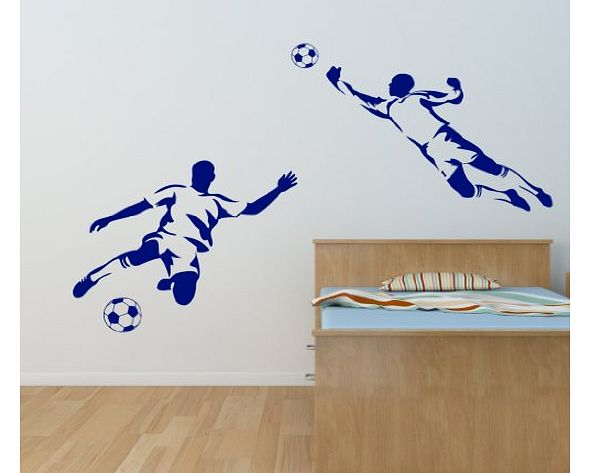 Footballer & Goalkeeper Boys Sport Football Wall Art Sticker - Art Vinyl Decal Stickers, Childrens Bedroom, Bathroom, Kitchen, Lounge, Easy to Apply, Free Applicator, Easy Peel - (PLEASE CHOOSE YO