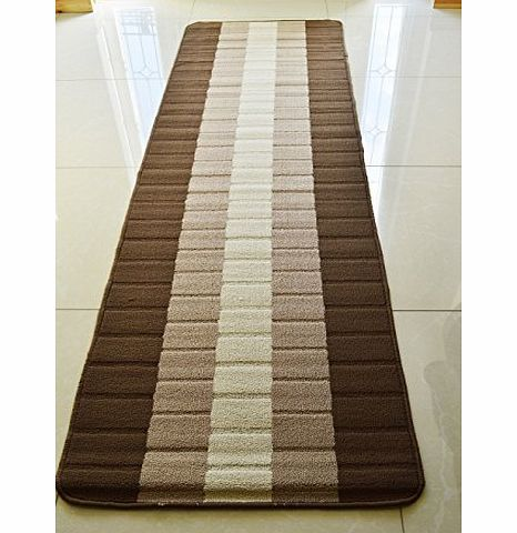 RUGS 4 HOME NEW COLORFUL MODERN WASHABLE NON SLIP KITCHEN UTILITY HALL LONG RUNNER DOOR MAT RUG * 5 SIZES,, 8 COLORS* (brown / beige IRIS, 66 x 225 cms) product image