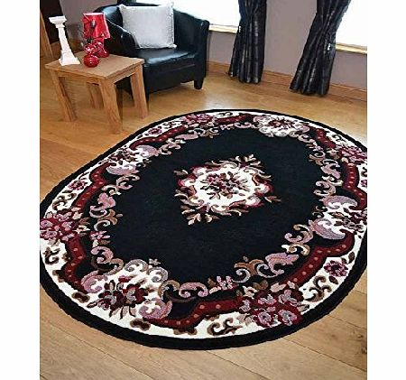 Rugs Supermarket Palace Traditional Black Oval Shaped Rug. Available in 2 Sizes (120cm x 158cm) product image